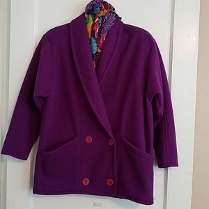 Special Editions Purple peacoat w red buttons.
